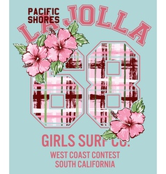 La Jolla Girl surfing vector