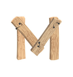 Letter m wood board font plank and nails alphabet vector