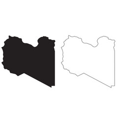 Libya country map black silhouette and outline vector