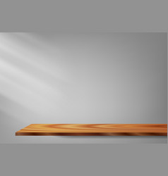 light and shadow wood shelf gray background vector image