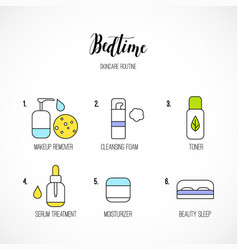 Line art night time skincare routine icons vector