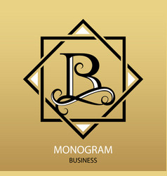 logo letter b monogram on gold background vector image