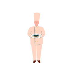 male chef cook holding freshly prepared fish on vector image