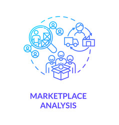 Marketplace analysis blue gradient concept icon vector