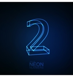 Neon 3d number 2 vector