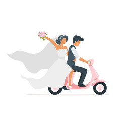 newlyweds on skooter vector image