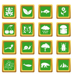 Oil industry items icons set green vector