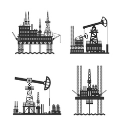 Oil Petroleum Platform Black And White vector