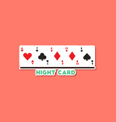 paper sticker on stylish background poker high vector image