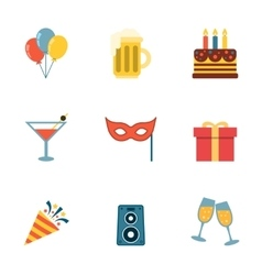 Party Icons Flat vector image