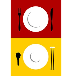 Place setting backgrounds on red and yellow vector image