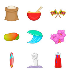 product from asia icons set cartoon style vector image
