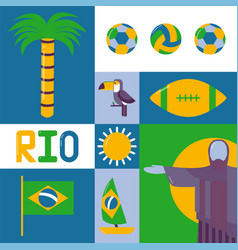 Rio brazil icon country flag statue jesus the vector