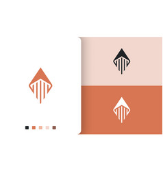 Rocket or compass logo in simple and modern shape vector