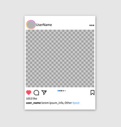 Screen interface in social media instagram vector