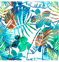 seamless exotic pattern with tropical palm in vector image