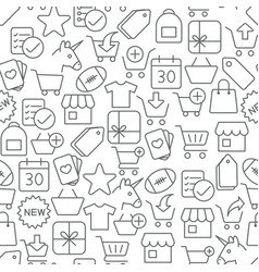seamless shopping icons pattern on white vector image
