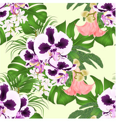 seamless texture tropical flowers spoted orchid vector image