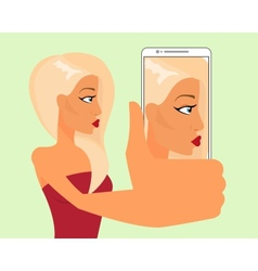 Selfie of blond sensual girl vector image