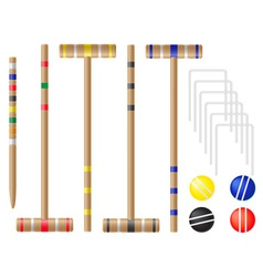 Set equipment for croquet vector
