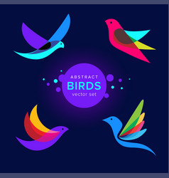 set modern abstract birds logo template vector image