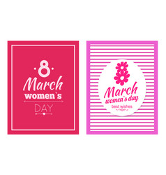 set of posters dedicated to 8 march best wishes vector image