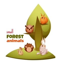 set of small forest cute animals vector image