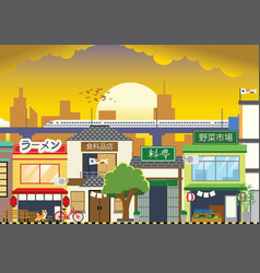 Shopping street in japan with flat style vector