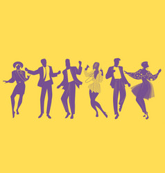 Silhouettes of people dancing new wave music vector