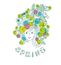 Spring Floral doodles vector image