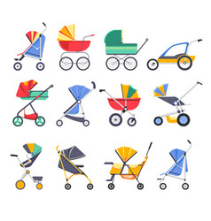 stroller or bacarriage child pram models vector image