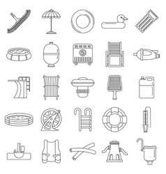 Swimming equipment icon set outline style vector
