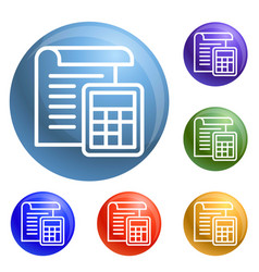 tax paper icons set vector image