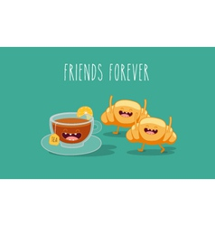 Tea and croissant vector image