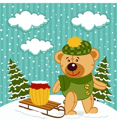 Teddy bear winter vector