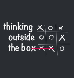 Think outside the box concept with tic tac toe vector