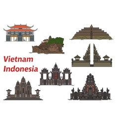 Travel landmarks of Vietnam and Indonesia vector