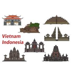 Travel landmarks vietnam and indonesia vector
