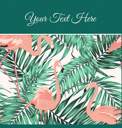Tropical leaves flamingo card poster template vector