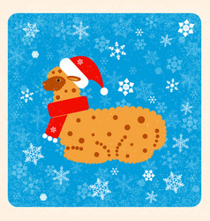 vintage card alpaca in a christmas hat and scarf vector image