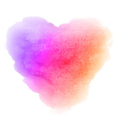 Watercolor gradient violet pink orange heart stain vector