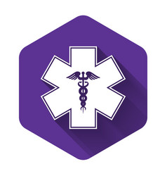 White emergency star - medical symbol caduceus vector