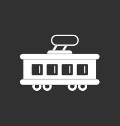 White icon on black background tram silhouette vector