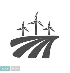 windmill on the field flat icon vector image