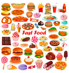 with a set fast food and ketchup pitsey vector image