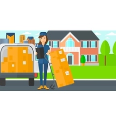 Woman delivering boxes vector image