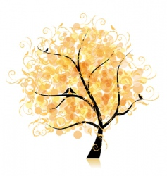 art tree beautiful golden leaf vector image vector image