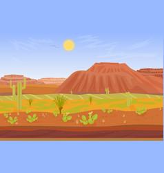 Cartoon prairie desert Grand canyon landscape with vector image