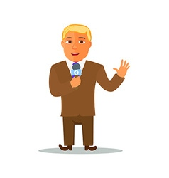 Cartoon Reporter Character with Microphone vector image vector image