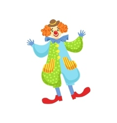 Colorful Friendly Clown In Bowler Hat In Classic vector image